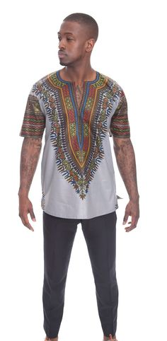 Tailored Grey Vlisco Dashiki African Male Top. by AFRICANISEDSHOP