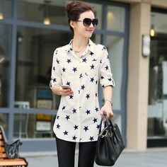 Spring New Fashion Women Clothes Plus Size Blouses Long Full Casual Shirt Print Lapel Chiffon Shirt Female Tops