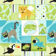 Rainforest Babies Patchwork fabric by bzbdesigner on Spoonflower - custom fabric