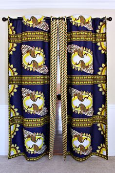 Get 2 curtain patterns for the price of house don't have to be so conventional. Our awesome African Print double sided window curtains transform a neglected essential into an awesome statement piece. Featuring a double-sided print. Curtains Yellow And Blue, Green And Gold, Blue Gold, Farmhouse Window Treatments, African Home Decor, Printed Curtains, Curtain Patterns, Ankara Fabric, Womens Size Chart