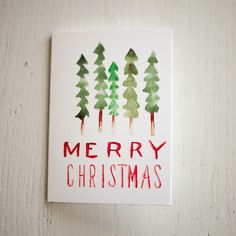 Merry Christmas Watercolor Forest Card