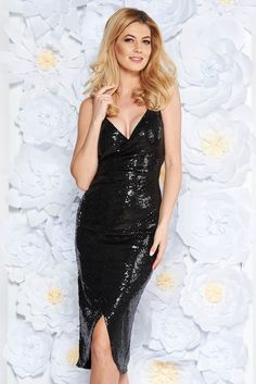 StarShinerS black occasional dress with sequins with inside lining slightly elastic fabric, sequin embellished details, inside lining, tented cut, with straps, deep cleavage, slightly elastic fabric, wrap around, side zip fastening