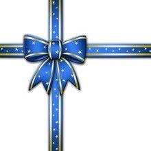 Fiocco blu natalizio con stelline