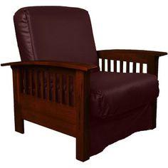 Epic Furnishings LLC Nantucket Chair Sleeper Bed Frame Finish: Mahogany Wood, Upholstery: Leather Look Bordeaux