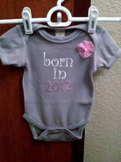 Unique Baby Girl Onesie in Gray with Beautiful by LoveUniqueBaby, $14.00