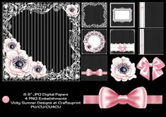 """8 8"""" JPG digital papers  4 PNG Embelishments  PU/CU/CU4CU when used as an embelishment in your own work  TOU included in the file"""