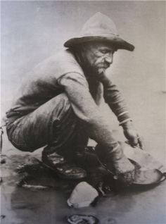 A man panning for gold at the beginning of the Gold Rush when gold was discovered in 1848 in California.