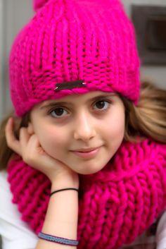 Big bonnet et big big snood fuschia Handmade knitwear, wool, knitting, tricot, men, women, kids