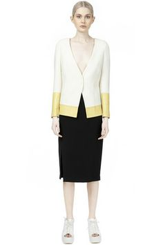 Collarless Blazer with Leather panels