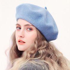 Wool Beret Hats Ladies Winter French Hat Women Strong Colour Trend Autumn Winter Beret Hat For Ladies Flat Cap Hat Felt Berets Baby Hats Knitting, Knitted Hats, French Beret Hat, Baby Blue Colour, Wool Berets, Winter Hats For Women, Flat Cap, Girl Falling, Blue Wool