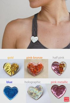 Heart Brooch  Valentines Day Gift  Holographic by petiteutile