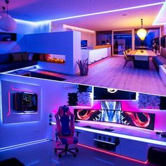 Kitchen Ceiling Lights, Home Ceiling, Rgb Led Strip Lights, Strip Lighting, Office Setup, Pc Setup, Desk Setup, Gaming Room Setup, Gaming Desk
