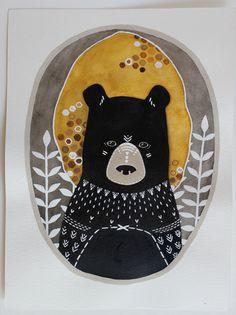 Bear Illustration Painting - Rafi the Honey Bear by Marisa Redondo