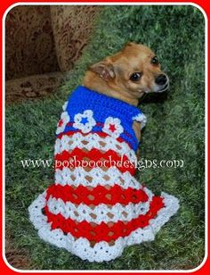Posh Pooch Designs Dog Clothes: The Betsy Dog Dress - Small Dog Sweater - New Crochet Pattern Release | Posh Pooch Designs