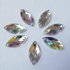 50pcs 9x20mm Clear AB Sew On Acrylic Crystal Rhinestone Navette Shape Flatback