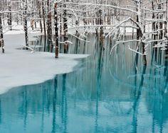 Beautiful blue lake in China.