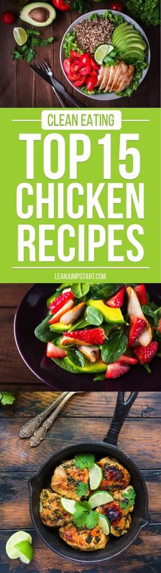 Clean Eating Chicken Recipes: Top 15 yummy, quick and easy recipe ideas for weight management. via Clean Eating Chicken Recipes: Top 15 yummy, quick and easy recipe ideas for weight management. via Gabi Rupp Clean Dinner Recipes, Clean Dinners, Paleo Dinner, Clean Eating Recipes, Healthy Eating, Clean Eating Chicken, Eating Clean, Vegetarian Recipes, Healthy Recipes