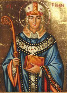 Saint Piran, Bishop of Padstowe, Cornwall (†480). He is a Saint of the Ancient…