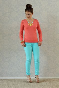 Love coral and Tiffany blue!! The cardigan $24.99 skinny jeans $29.99 fun accessories! www.chicstyleutah.com