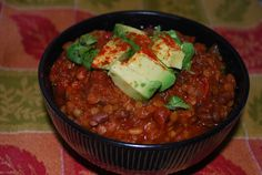 Best Lentil Chili Ever. It makes a bunch - freeze extra or make it into veggie burgers (1 cup chili + 1/2 c rolled oats + 1 T flax meal).
