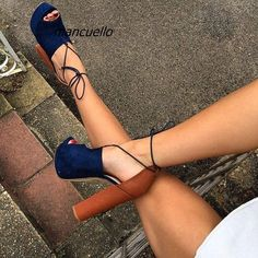 Sexy New Fashion Women Open Toe Blue Suede Leather Thick Heel Pumps Cut-out Lace-up Patchwork High Heels Dress Shoes(China) Hot Shoes, Crazy Shoes, Me Too Shoes, Zapatos Shoes, Shoes Heels, Flats, Women's Sandals, Brown Sandals, Dress Sandals
