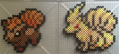 #037-#038 Vulpix and Ninetails - Pokemon perler beads by TehMorrison
