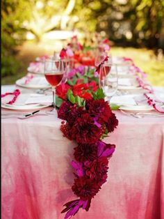 pink flowers ombre pink tablecloth tablescape