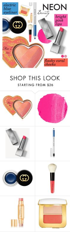 """Bright Eyes: Neon Beauty"" by dressedbyrose ❤ liked on Polyvore featuring beauty, Too Faced Cosmetics, NARS Cosmetics, Burberry, Marc Jacobs, Gucci, Bobbi Brown Cosmetics, Wander Beauty, Tom Ford and neonbeauty"