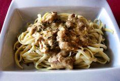 Espaguetis a la carbonara. Restaurante LA BRASERIA DEL JARDÍN. Xativa ( Valencia )