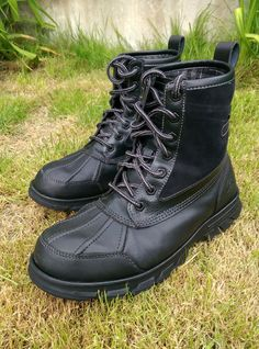 Mens Skechers Leather Boots 6.5 UK 39 Euro Black Water Resistant 5* Condition in Clothes, Shoes & Accessories, Men's Shoes, Boots | eBay