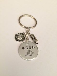 Custom Personalized Firefighter Gift Keychain Choice of 2 Firefighter Charms. Fire Chief Lieutenant Firefighter Wife Firefighter Girlfriend