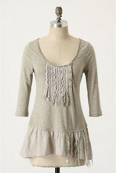 Anthro inspiration.  Adventures in Dressmaking: Long-sleeve ruffle trim tee tutorial