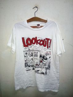 Sale Rare !! Vintage Lookout Records Punk Rock Fat Wreck Chords band 1993 Lookout! licensed to Cinder Block Unisex White Sz L by Psychovault on Etsy