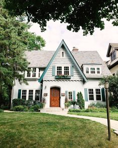 """Patti on Instagram: """"So many house snaps that I haven't gotten to edit so I'll throw it back to this #myhousecrushmonday with the blue-green trim and wood stain…"""" Cute House, House 2, Dream House Exterior, House Exteriors, Cottage Exterior, Cottage Homes, Tudor Cottage, Cottage Style, House Goals"""
