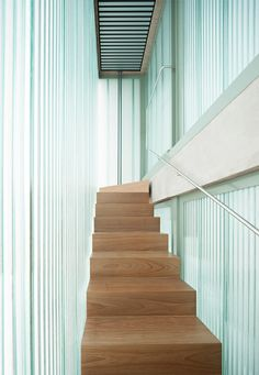 Staircase in a polycarbonate diffuser. Fuensanta House by Muka Arquitectura