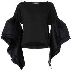Leal Daccarett Guacari Ruffle Sleeve Shirt (3,175 MYR) ❤ liked on Polyvore featuring tops, black, boat neck tops, ruffle sleeve shirt, sleeve top, shirt top and ruffle sleeve top