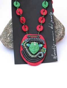 Necklace Fairy Fantasy Polymer Clay Unique design cosmos Sci Fi cyber psyhodelic red green handcrafted MINTAKA hematite beads - SweetlyART. $50.00, via Etsy.