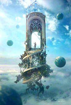 "Fantasy Artwork: ""Knocking On Heaven's Door"" by Jie Ma Fantasy Places, Fantasy World, Dream Fantasy, Fantasy Fairies, Fantasy Castle, Fantasy Artwork, Digital Art Fantasy, Surreal Artwork, Anime Art Fantasy"