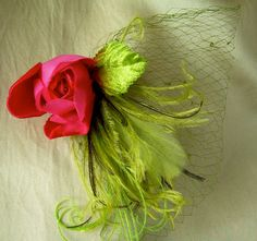 chartreuse and spring green fascinator with rare by owllamode