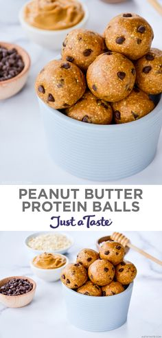 Consider this your ultimate protein ball template! Grab your favorite nut butter plus a few simple pantry ingredients for this healthy snack recipe the whole family will love. justataste.com #proteinballs #healthysnacks #energyballs #oatmealpeanutbutterproteinballs #recipes #food #justatasterecipes Peanut Butter Dessert Recipes, Peanut Butter Protein, Yummy Snacks, Snack Recipes, Cooking Recipes, All You Need Is, Healthy Eats, Healthy Snacks, Protein Ball