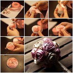 Wedding DIY - Satin Ribbon Rose Bouquet 3
