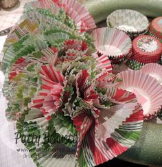 www.PattyStamps.com - how to make a Christmas Cupcake Liner Wreath! Simple and inexpensive Christmas Craft!