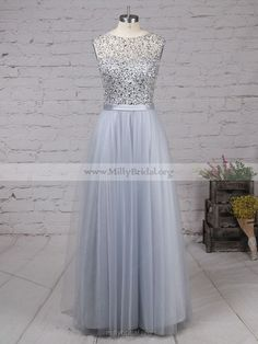 A-line Scoop Neck Tulle Floor-length Beading Fashion Long Prom Dresses #Milly020103502