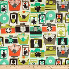 Michael Miller Urbanista Cameras Jewel from @fabricdotcom  Designed for Michael Miller, this cotton print fabric is perfect for quilting, apparel and home decor accents. Colors include orange, seafoam, olive, grey and dark brown on a khaki and ivory background.