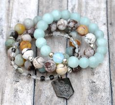 Stack of Natural Stone Bead Bracelets / Layering by BeadRustic