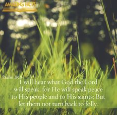 I will hear what God the LORD will speak: for he will speak peace unto his people, and to his saints: but let them not turn again to folly.  Psalms 85:8