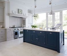 Georgian pane doors - large panes of glass either side Blue Painted Kitchen - Bespoke Kitchens - Tom Howley.because who wouldn't want to have a blue kitchen island? Kitchen Inspirations, Kitchen Flooring, Kitchen Trends, Kitchen Remodel, Open Plan Kitchen, New Kitchen, Home Kitchens, Blue Kitchen Island, Kitchen Living