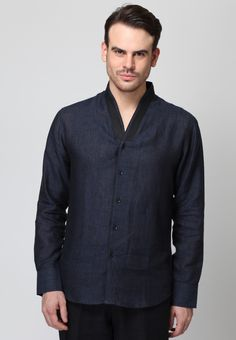 Long Sleeve Blue Linen Shirt - Mksp - Buy Men's Shirts Online in India | Jabong.com