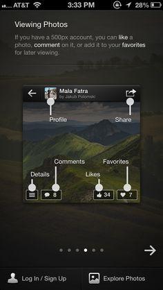 500px app walkthrough screens