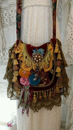 Handmade Fabric Lace Crochet Carpet Bag Hippie Gypsy Boho Hobo Fringe tmyers…
